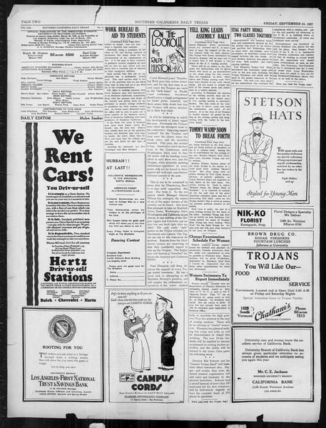 Daily Trojan, Vol. 19, No. 5, September 23, 1927