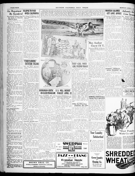 Southern California Daily Trojan, Vol. 21, No. 118, April 07, 1930