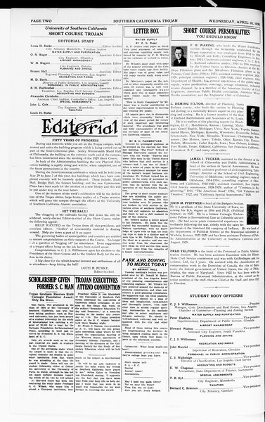 The Southern California Trojan: School of Citizenship and Public Administration, Vol. 3, No. 3, April 16, 1930