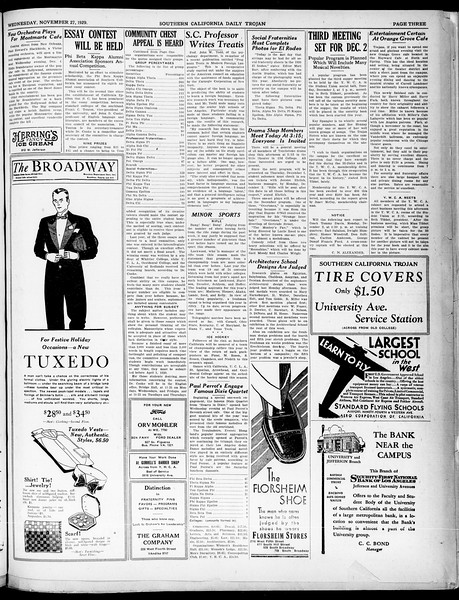 Southern California Daily Trojan, Vol. 21, No. 50, November 27, 1929
