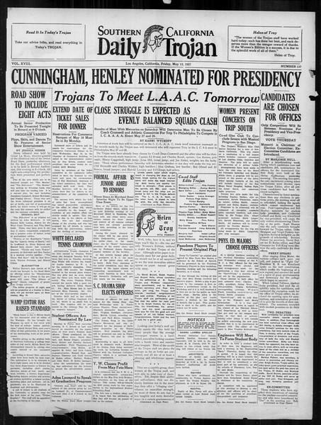 Daily Trojan, Vol. 18, No. 137, May 13, 1927
