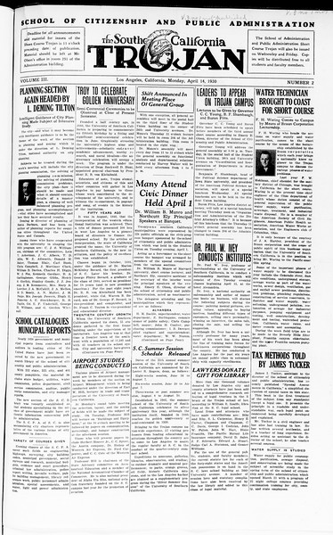 The Southern California Trojan: School of Citizenship and Public Administration, Vol. 3, No. 2, April 14, 1930