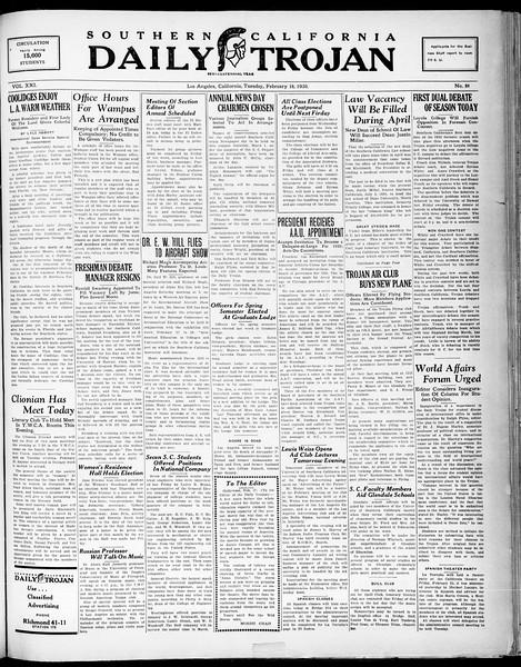 Southern California Daily Trojan, Vol. 21, No. 84, February 18, 1930