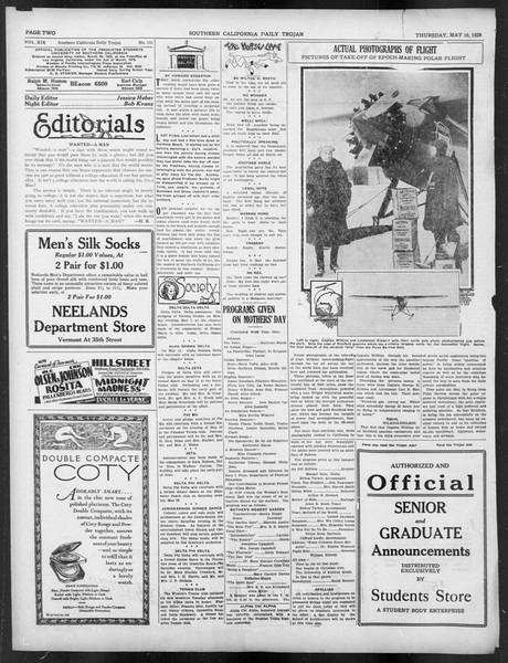 Daily Trojan, Vol. 19, No. 131, May 10, 1928