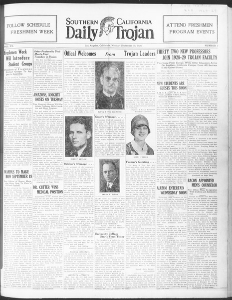 Daily Trojan, Vol. 20, No. 1, September 10, 1928