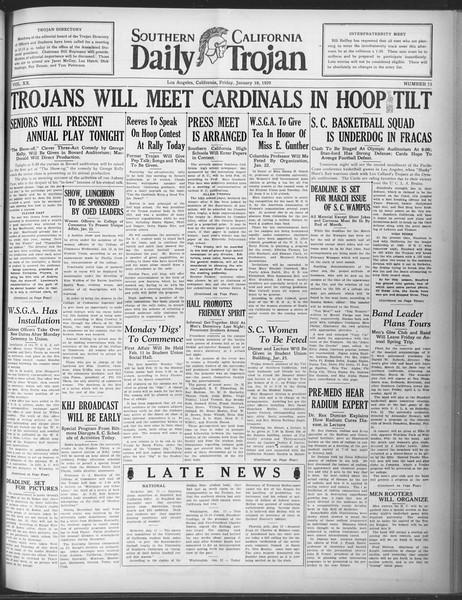 Daily Trojan, Vol. 20, No. 73, January 18, 1929
