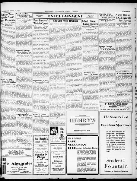 Southern California Daily Trojan, Vol. 21, No. 124, April 24, 1930