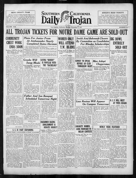 Daily Trojan, Vol. 19, No. 37, November 08, 1927
