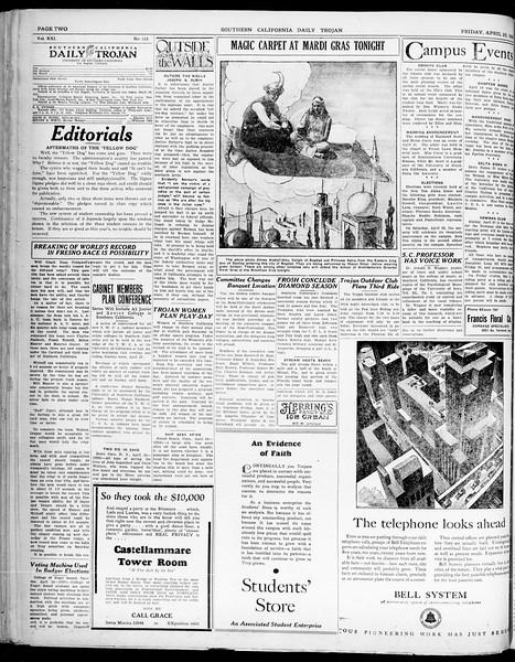 Southern California Daily Trojan, Vol. 21, No. 125, April 25, 1930