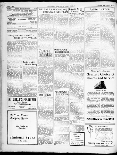 Southern California Daily Trojan, Vol. 21, No. 49, November 26, 1929