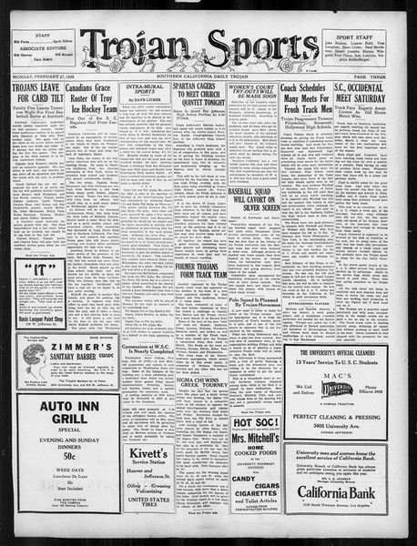 Daily Trojan, Vol. 19, No. 86, February 27, 1928