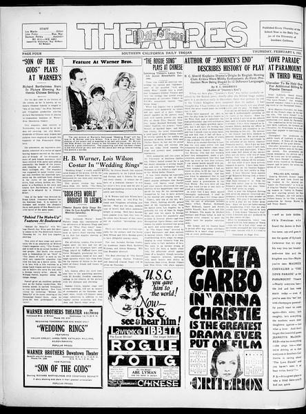 Southern California Daily Trojan, Vol. 21, No. 76, February 06, 1930