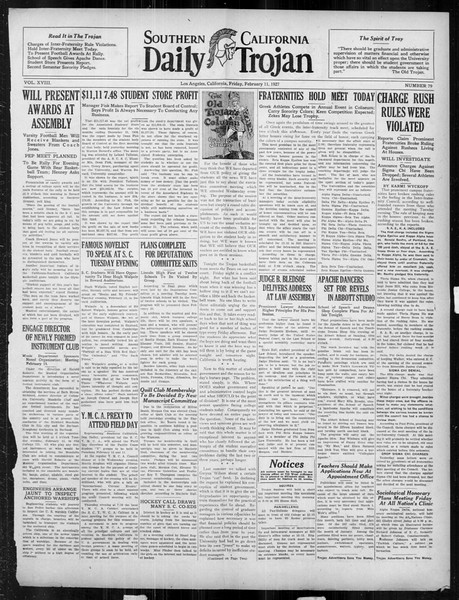 Daily Trojan, Vol. 18, No. 79, February 11, 1927