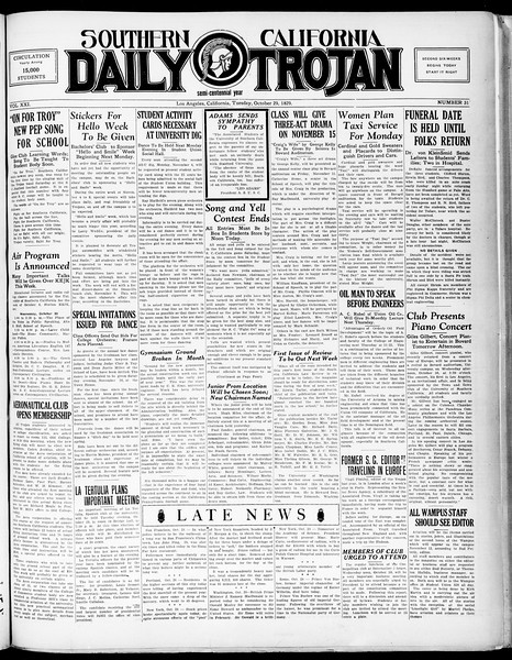 Southern California Daily Trojan, Vol. 21, No. 31, October 29, 1929