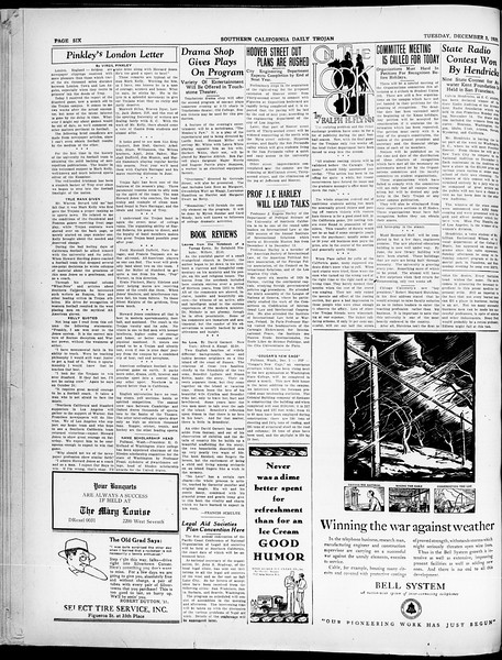 Southern California Daily Trojan, Vol. 21, No. 51, December 03, 1929