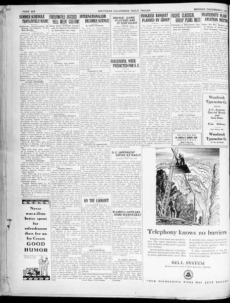 Southern California Daily Trojan, Vol. 21, No. 55, December 09, 1929