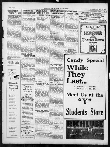 Daily Trojan, Vol. 18, No. 145, May 25, 1927