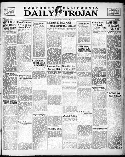 Southern California Daily Trojan, Vol. 21, No. 134, May 08, 1930