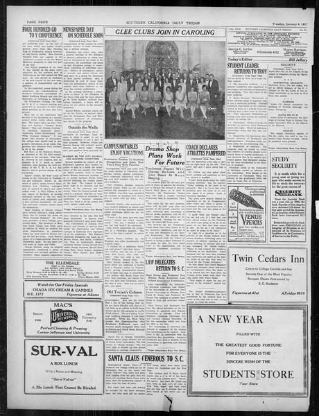Daily Trojan, Vol. 18, No. 63, January 04, 1927