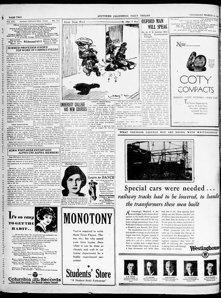Southern California Daily Trojan, Vol. 21, No. 101, March 13, 1930