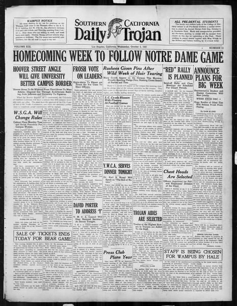Daily Trojan, Vol. 19, No. 13, October 05, 1927