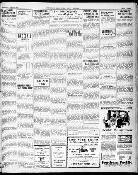 Southern California Daily Trojan, Vol. 21, No. 142, May 20, 1930