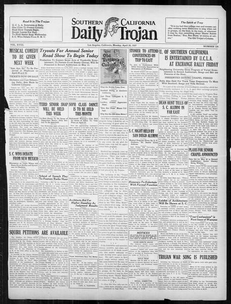 Daily Trojan, Vol. 18, No. 124, April 25, 1927
