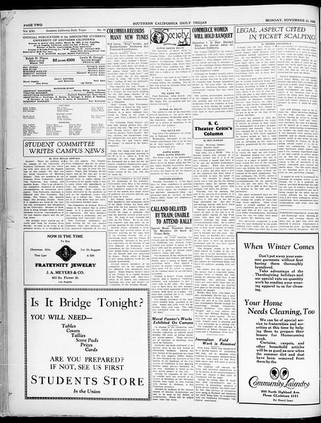 Southern California Daily Trojan, Vol. 21, No. 48, November 25, 1929