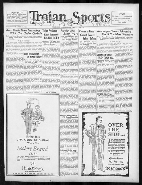 Daily Trojan, Vol. 19, No. 110, April 11, 1928