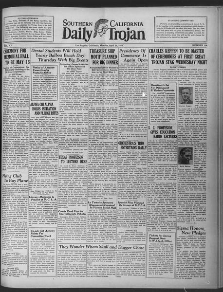 Daily Trojan, Vol. 20, No. 129, April 29, 1929