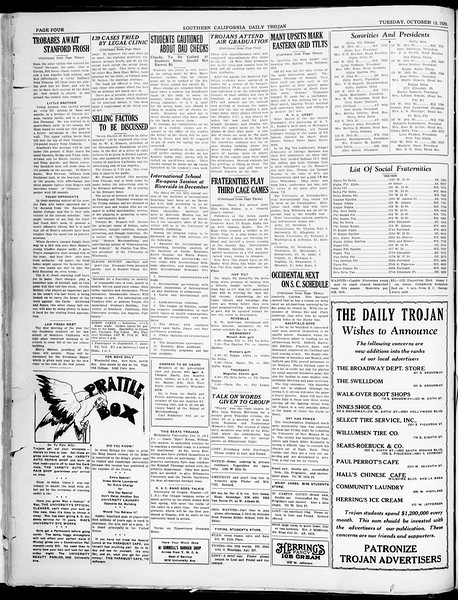 Southern California Daily Trojan, Vol. 21, No. 21, October 15, 1929