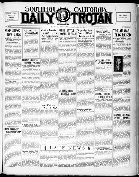 Southern California Daily Trojan, Vol. 21, No. 27, October 23, 1929