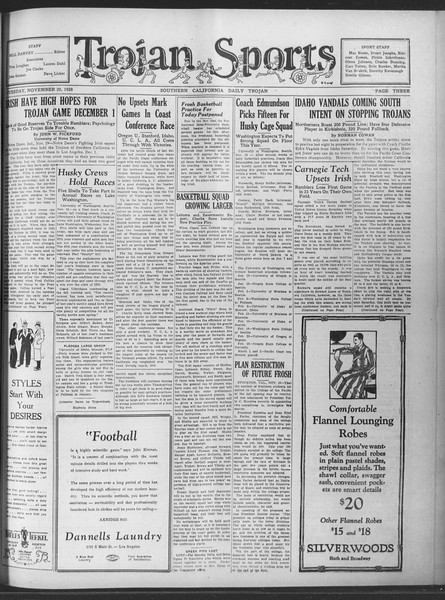 Daily Trojan, Vol. 20, No. 47, November 20, 1928
