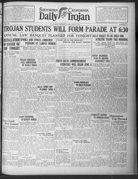 Daily Trojan, Vol. 20, No. 113, April 04, 1929