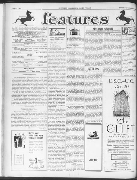 Daily Trojan, Vol. 20, No. 18, October 09, 1928
