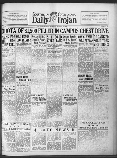Daily Trojan, Vol. 20, No. 48, November 21, 1928