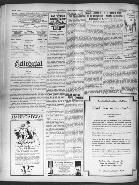 Daily Trojan, Vol. 20, No. 108, March 20, 1929