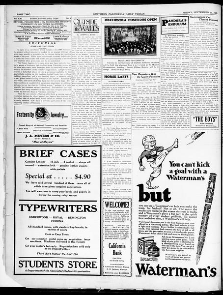 Southern California Daily Trojan, Vol. 21, No. 4, September 20, 1929