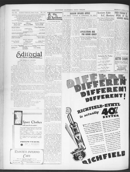 Daily Trojan, Vol. 20, No. 119, April 15, 1929