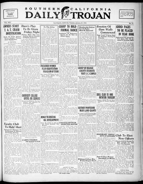 Southern California Daily Trojan, Vol. 21, No. 72, January 21, 1930
