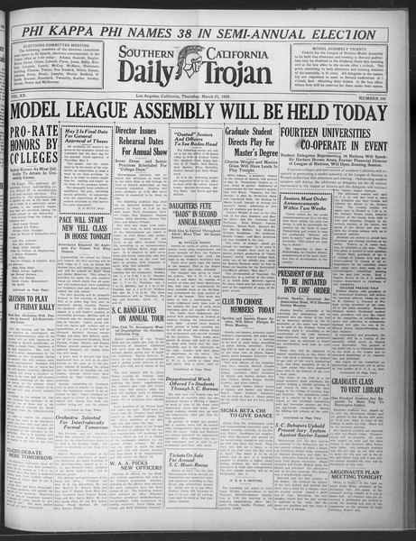 Daily Trojan, Vol. 20, No. 109, March 21, 1929