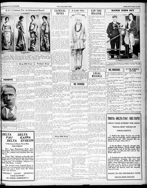 "Yellow Dog, Vol. ""ask the Phi Delta Phis, or Bud Fessler"", No. ""WEstmore 7795 - ask Zeman"", April 23, 1930"