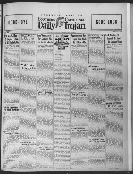 Daily Trojan, Vol. 20, No. 151, May 29, 1929