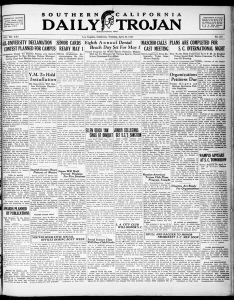 Southern California Daily Trojan, Vol. 21, No. 127, April 29, 1930
