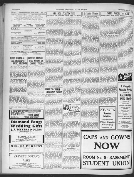 Daily Trojan, Vol. 20, No. 139, May 13, 1929