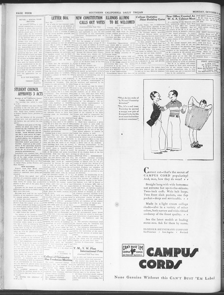 Daily Trojan, Vol. 20, No. 17, October 08, 1928