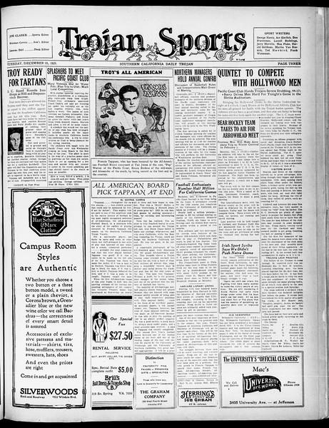 Southern California Daily Trojan, Vol. 21, No. 56, December 10, 1929