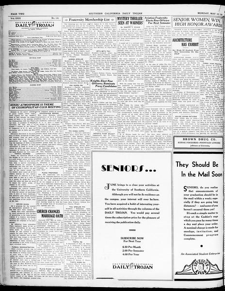 Southern California Daily Trojan, Vol. 21, No. 141, May 19, 1930