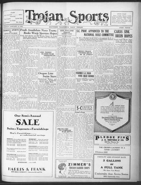 Daily Trojan, Vol. 20, No. 70, January 15, 1929