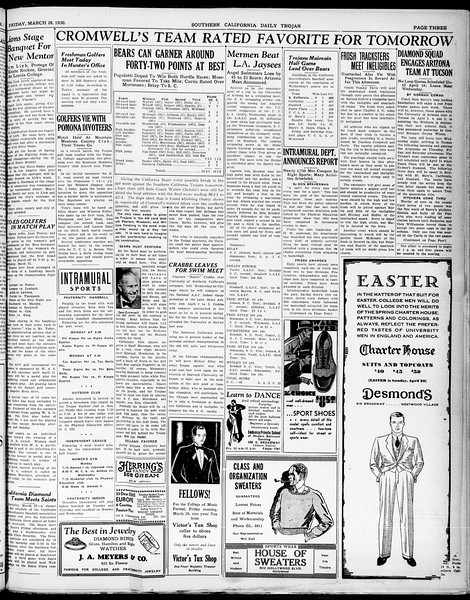 Southern California Daily Trojan, Vol. 21, No. 112, March 28, 1930